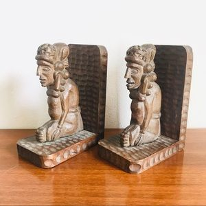 Hand carved vintage Mayan/Aztec wood bookends